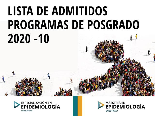 Admitidos programa en Epidemiología 2020-10
